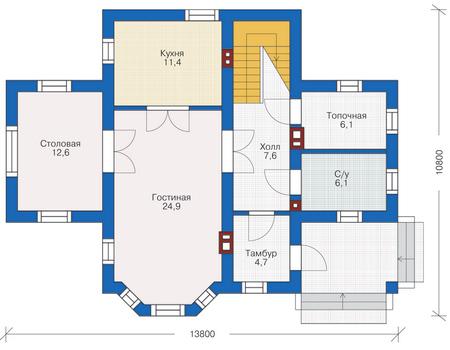 Проект бетонного дома 54-66 план