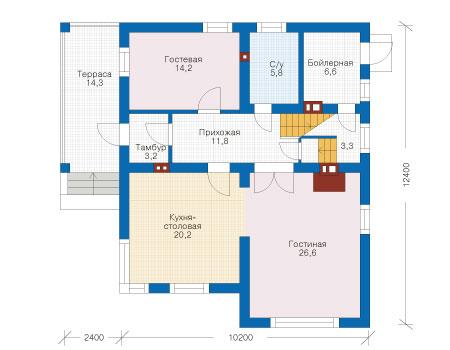 Проект бетонного дома 54-90 план