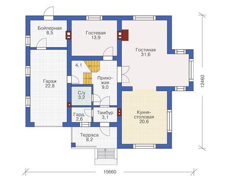 Проект бетонного дома 55-11 план