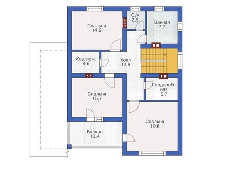 Проект бетонного дома 55-12 план