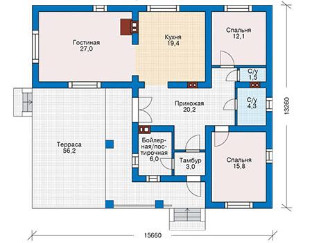 Проект бетонного дома 55-28 план