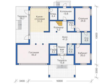 Проект бетонного дома 55-33 план