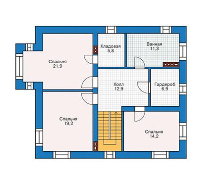Проект бетонного дома 55-54 план